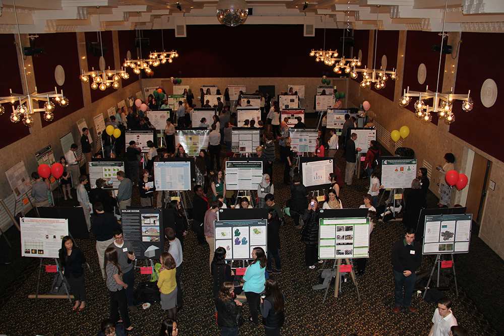 photo of UURAF posters and students in MSU Union ballroom