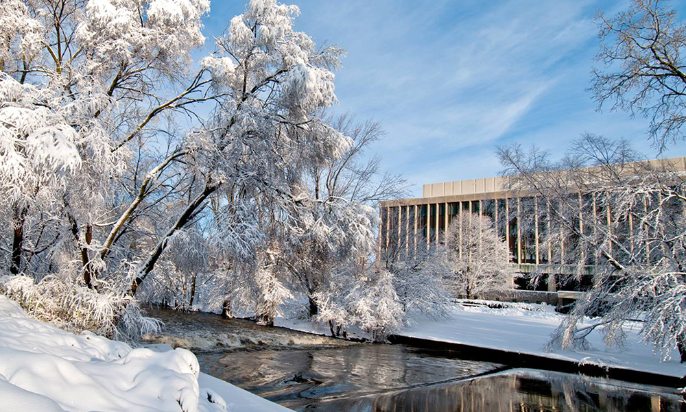 photo of the MSU Administration building in winter