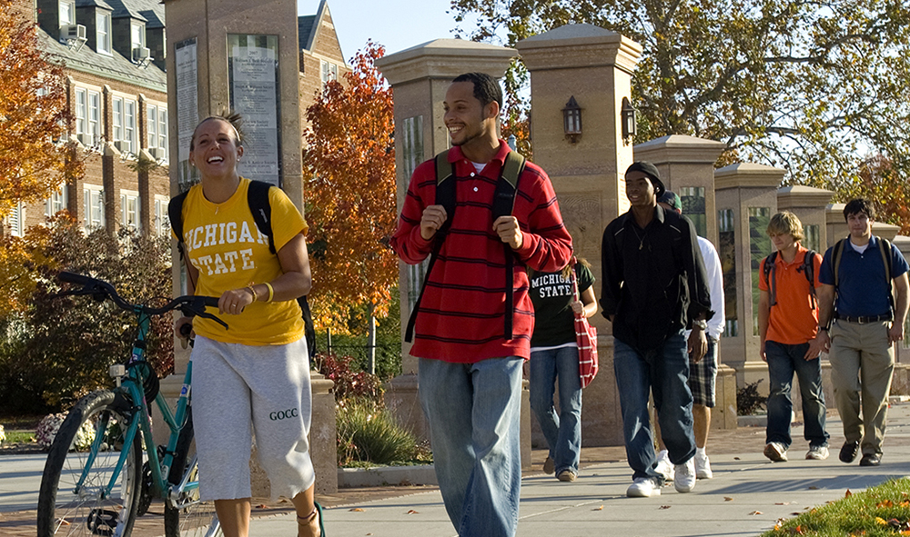 photo of students walking on MSU's campus