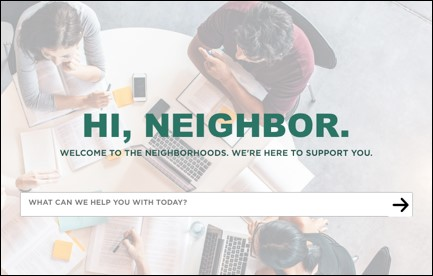 screenshot of the new neighborhoods website landing page