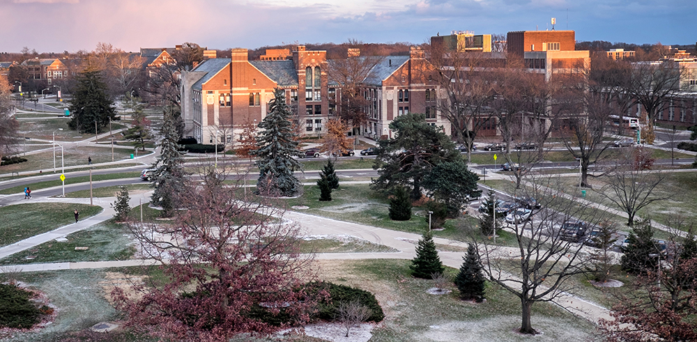 Photo of a sunrise over a wintery MSU campus. Image courtesy of Michigan State University